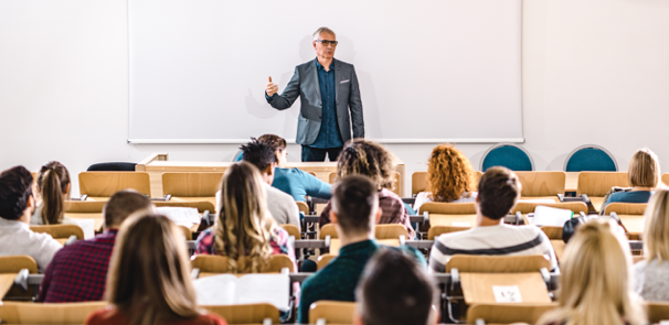 Professor instructing a lecture in a McMaster classroom